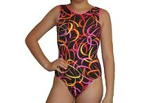 New girls gymnastic leotard black colorful confetti print