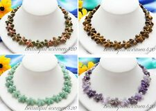 "X0323 17"" Hand-carved 20mm star flower Amethyst tiger's-eye jade stone necklace"