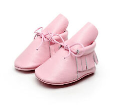 New Infant Real Leather Baby Girls Cute Moccasins Tassel Lacing Soft Crib Shoes
