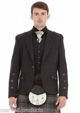 Men Gray Tweed Scottish Kilt Jacket with Waistcoat Handmade Various Sizes