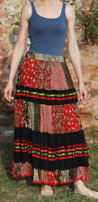 LADIES FREESIZE LONG MAXI CRINKLE COTTON TIERED HIPPY BOHO GYPSY LINED SKIRT