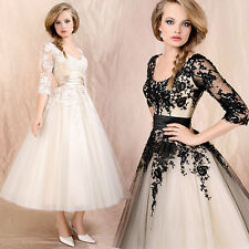 Luxurious Women's Lace Prom Ball Gown Cocktail Party Bridal Formal Wedding Dress