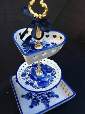 Wedding Cake Stand Blue Willow 3 Tier Serving Tray Pierced China Plate Platter