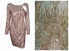 ELEGANT SEQUINS MESH LACE FABRIC W/EMBROIDERY BRIDAL DRESS GOWN 52'' WIDE 1 YARD