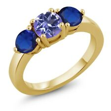 Mystic Topaz and Blue Simulated Sapphire 18K Yellow Gold Plated Silver Ring