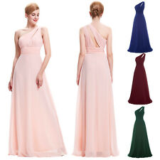 Sexy One Shoulder Long Pleated Bridesmaid Dress Pageant Evening Prom Party Gown