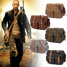 Men Vintage Style Canvas Leather Satchel School Military Shoulder Messenger Bag
