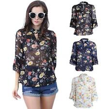 Sexy Women Chiffon Blouse Flower Print Cut Out Shirt T-Shirt Loose Tops Tee N2U7