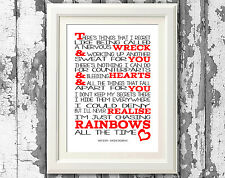 Shed Seven Chasing Rainbows Song Lyric Poster Typography Print Lyric Wall Art