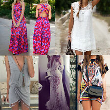 Sexy Women Summer Boho Casual Long Maxi Evening Party Lace Dress Beach Sundress