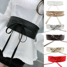 Women Faux Leather Wide Self Tie Wrap Around Obi Waist Band Cinch Boho Belt