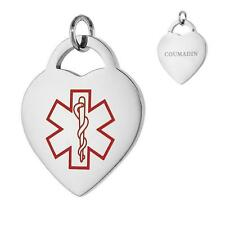 COUMADIN Stainless Steel Medical Alert Heart Pendant / Charm, Bead Ball Chain
