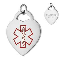 DIABETES TYPE 2 Stainless Steel Medical Heart Pendant / Charm, Bead Ball Chain