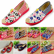 Womens Espadrilles Flat Dolly Pumps Ballet Ballerina Casual Canvas Loafers Shoes