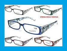 Womens Spring Hinge Temple Readers Reading Fashion Glasses Rectangle +1.00-+3.50