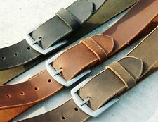 Real Full Grain Polish PullUp Leather Belt waist Wide Brown Strap Edge Buckle