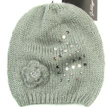 "GOLDDIGGA ""Winter Flower"" womens winter hat beanie floral sequins (gray) NEW"