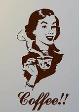 Coffee retro lady vinyl wall art sticker kitchen decor dining cafe decal DIY