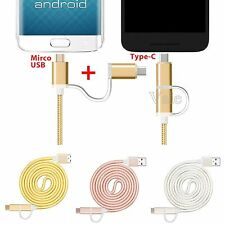 2 in 1 USB 3.1 Type C Micro USB Data Charge Cable For Android & Type C Phone Lot