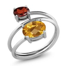 2.25 Ct Oval Checkerboard Citrine Red Garnet 925 Sterling Silver Open Ring