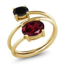2.13 Ct Oval Red Rhodolite Garnet Black Onyx 18K Yellow Gold Plated Silver Ring