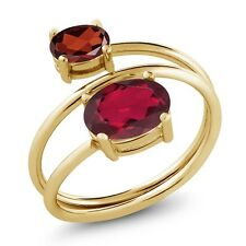 2.30 Ct Oval Ruby Red Mystic Topaz Garnet 18K Yellow Gold Plated Silver Ring