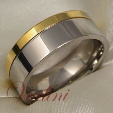 Mens Titanium Ring 14k Gold Wedding Band Bridal Jewelry for His or Her Size 6-13