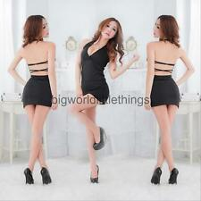 Women Sexy Sleeveless Plunge Backless Mini Dress Halter Babydoll Sleep Dress