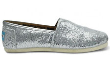 TOMS Silver Glitter Youth Classics Shoes. Style 1013C11