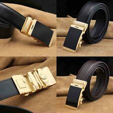 Fashion Genuine Leather Mens Black Alloy Automatic Buckle Waist Strap OL Belts