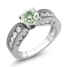 1.94 Ct Round Green Amethyst 925 Sterling Silver Ring