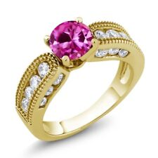 2.50 Ct Round Pink Created Sapphire 18K Yellow Gold Plated Silver Ring