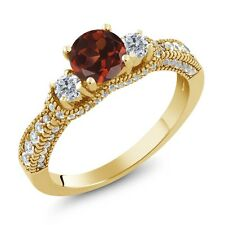 2.19 Ct Round Red Garnet G/H Diamond 18K Yellow Gold Plated Silver Ring