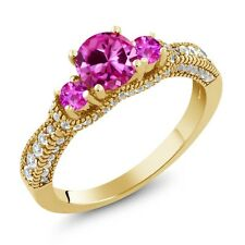 2.25 Ct Pink Created Sapphire Pink Sapphire 18K Yellow Gold Plated Silver Ring