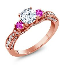 2.45 Ct White Created Sapphire Pink Sapphire 18K Rose Gold Plated Silver Ring