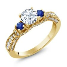 1.75 Ct Round White Topaz Blue Sapphire 18K Yellow Gold Plated Silver Ring