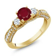 2.27 Ct Round Red Ruby White Topaz 18K Yellow Gold Plated Silver Ring