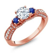 2.09 Ct Round White Zirconia Blue Sapphire 18K Rose Gold Plated Silver Ring