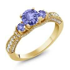 1.69 Ct Round Blue Tanzanite 18K Yellow Gold Plated Silver Ring
