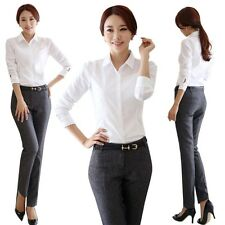 Women Lady OL Long Sleeve Shirts Lapel Collar Career Shirt Blouse Tops White