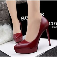 Stylish Ladies Fashion Pointy Toe High Platform Patent Leather Women Heels Pumps