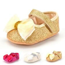 Sequins Baby Girls Infant Bowknot Soft Sole Crib Shoes Trainers Antislip 0-18M