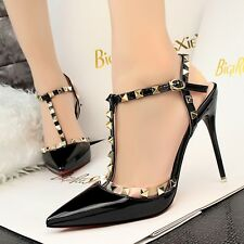 Hot Cut Out T Strappy Pumps High Heels Stiletto Pointed Toe Sandals Womens Shoes