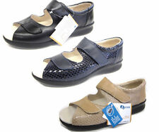 'BLISS' EASY B BY DB EXTRA WIDE LADIES ADJUSTABLE VELCRO LEATHER SANDALS
