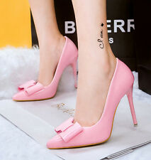 New Candy Color Women Shoes OL Stiletto High Heels Bowknot Pointed Shallow Pumps