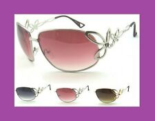 New Women's Pink Lens Fashion Sunglasses Silver Gold Floral Metal Frame Temples