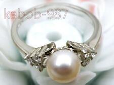 Natural 6.5mm round white akoya pearl ring size 6 7 8# 925 silver