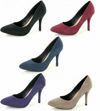 LADIES SPOT ON HIGH HEEL POINTED TOE COURT SHOES F9672