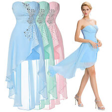 BEADED Strapless High-Low Chiffon Bridesmaid Evening Prom Party Dress Homecoming