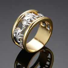 Size 6-11 Silver Elephant Band 10Kt Yellow Gold Filled Engagement Wedding Ring
